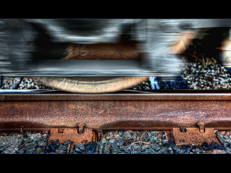 Rusted rail, rusted wheel