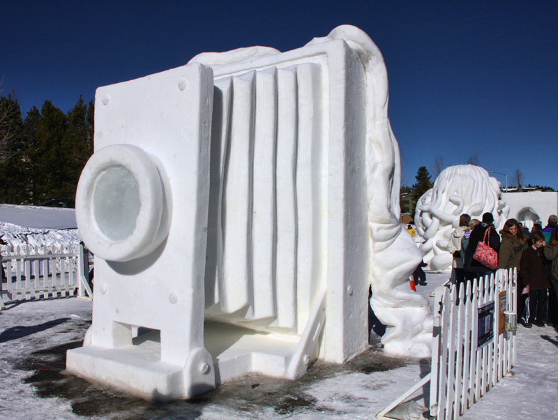 12 foot tall view camera made from snow