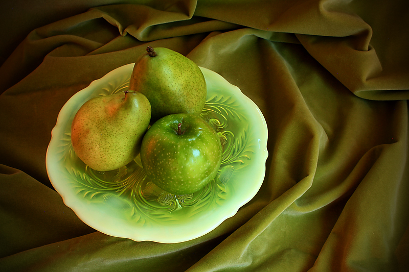 Apple and two pears