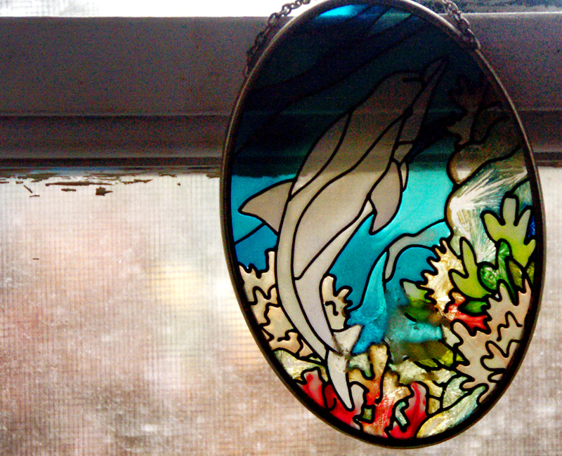 Painted glass on Wood and glass