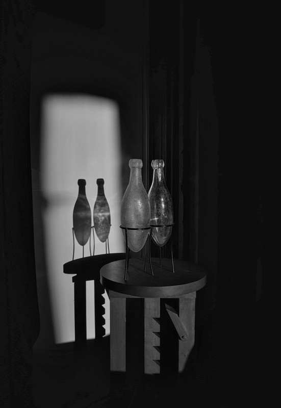 still life with several bottles