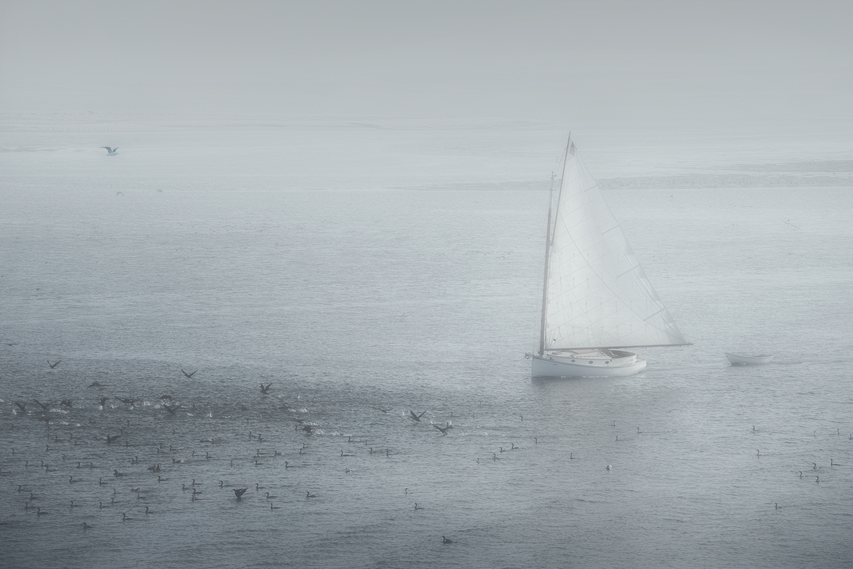 Catboat in the Evening Mist