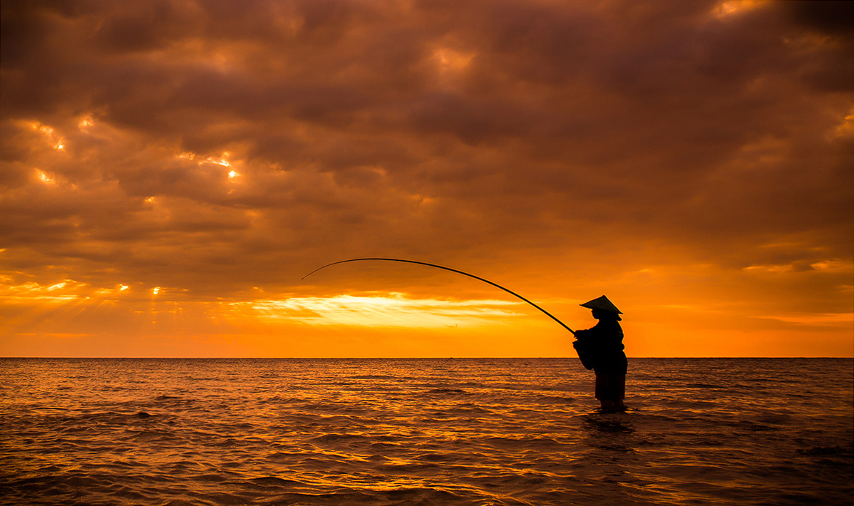 A Fisherman, his Fishing Pole and his Hat