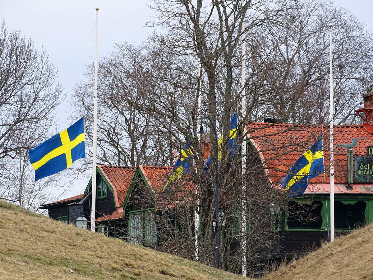 Flags at half-mast after the terrorist attack in Sweden
