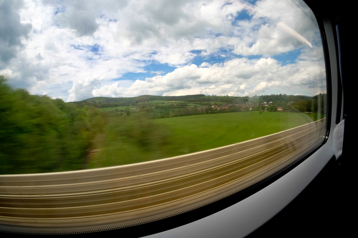 Going by a fast train is like fast forwarding the landscape