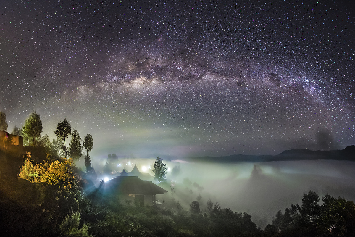 Misty Bromo with Milky Way