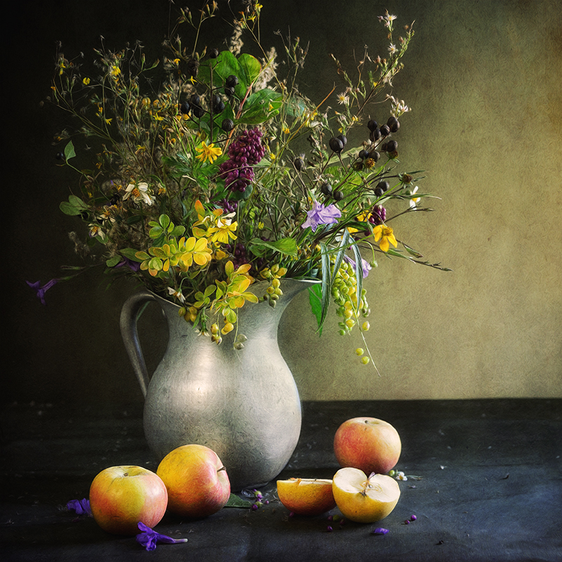 Fall Wildflowers with Apples
