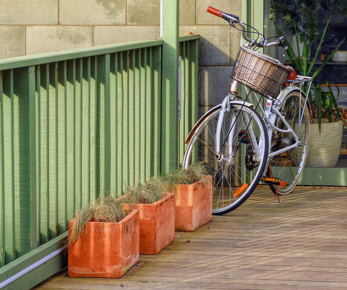 Bicycle, basket, balustrade, boxes, boards, blocks....