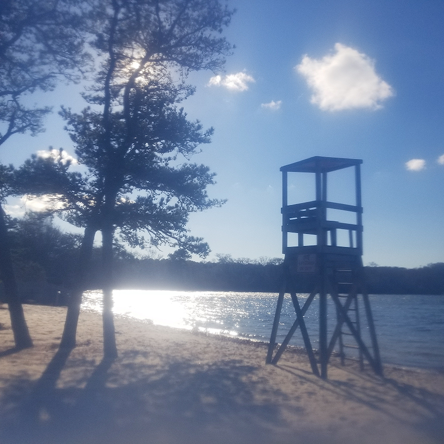 No Lifeguard on Duty — December Afternoon at Long Pond