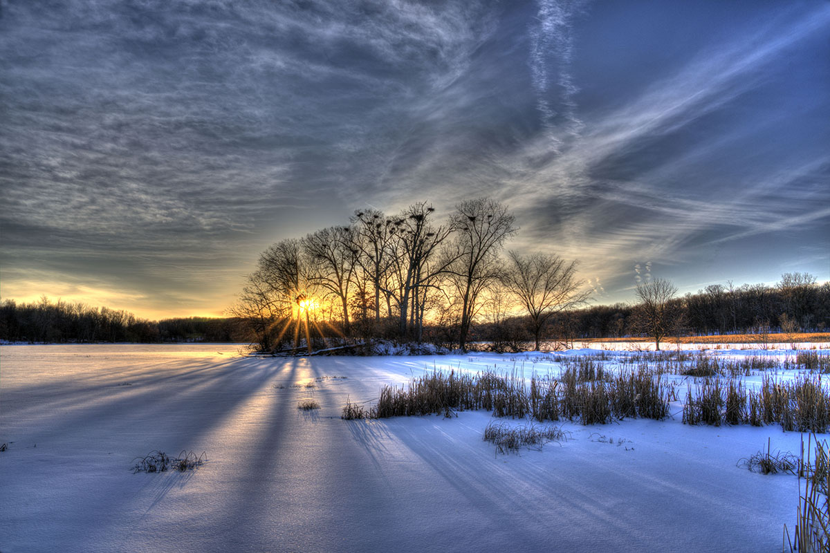 Sunset on a Winters Lake