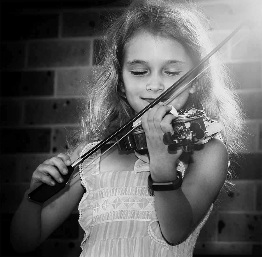 at her violin rehearsal