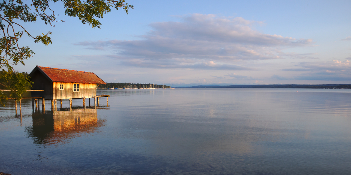 View of the Alps across Ammersee