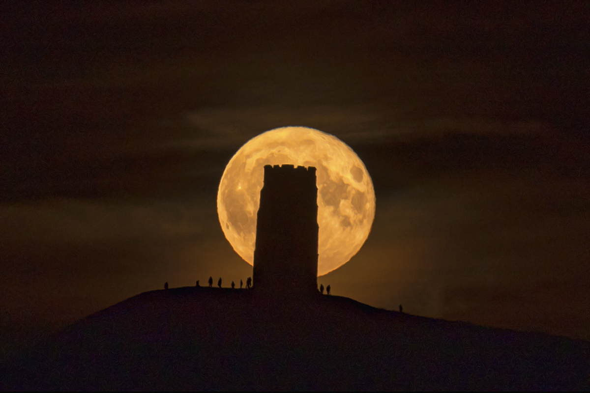 Glastonbury Tor at Full Moon