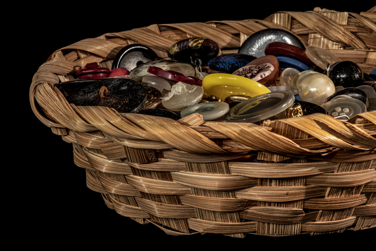 An Old Basket Full of Old Buttons