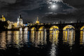 Full moon over Charles Bridge, Prague