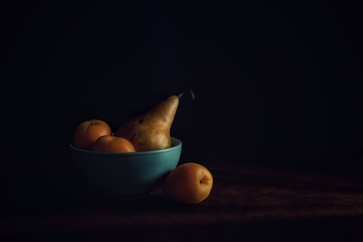 a pear and some apricots