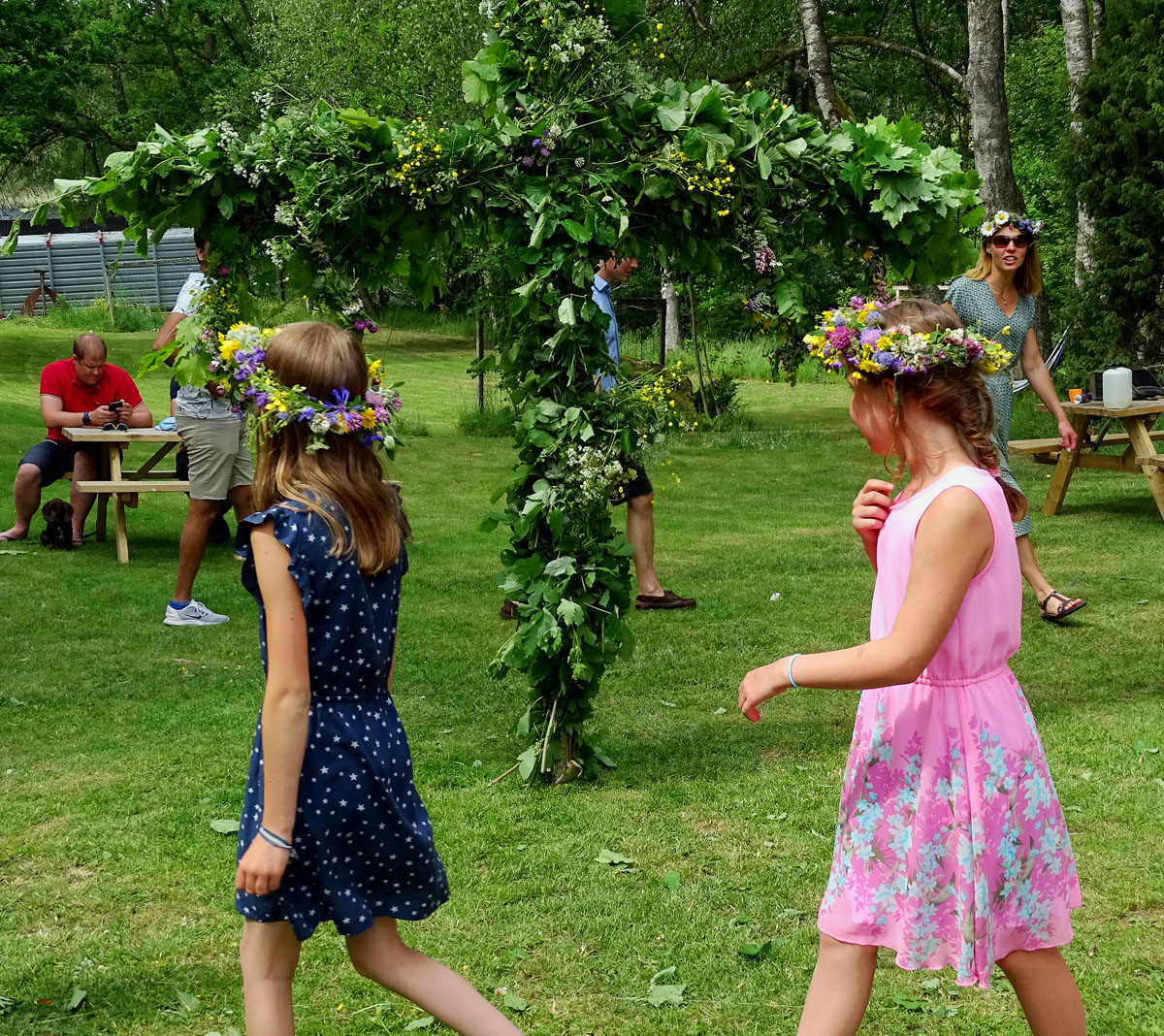 Typical Swedish Midsummer Celebration This year's dancing was with Social Distance
