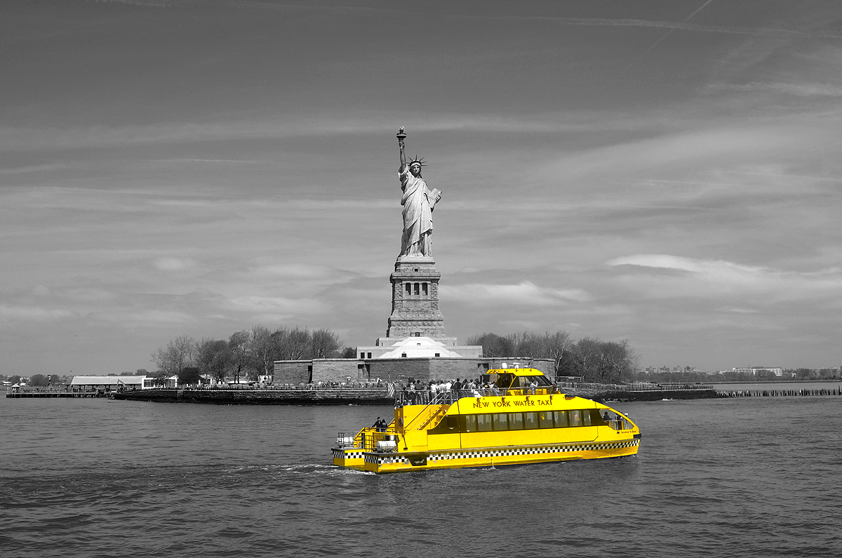 The Statue of Liberty Hailing a Water Taxi :)