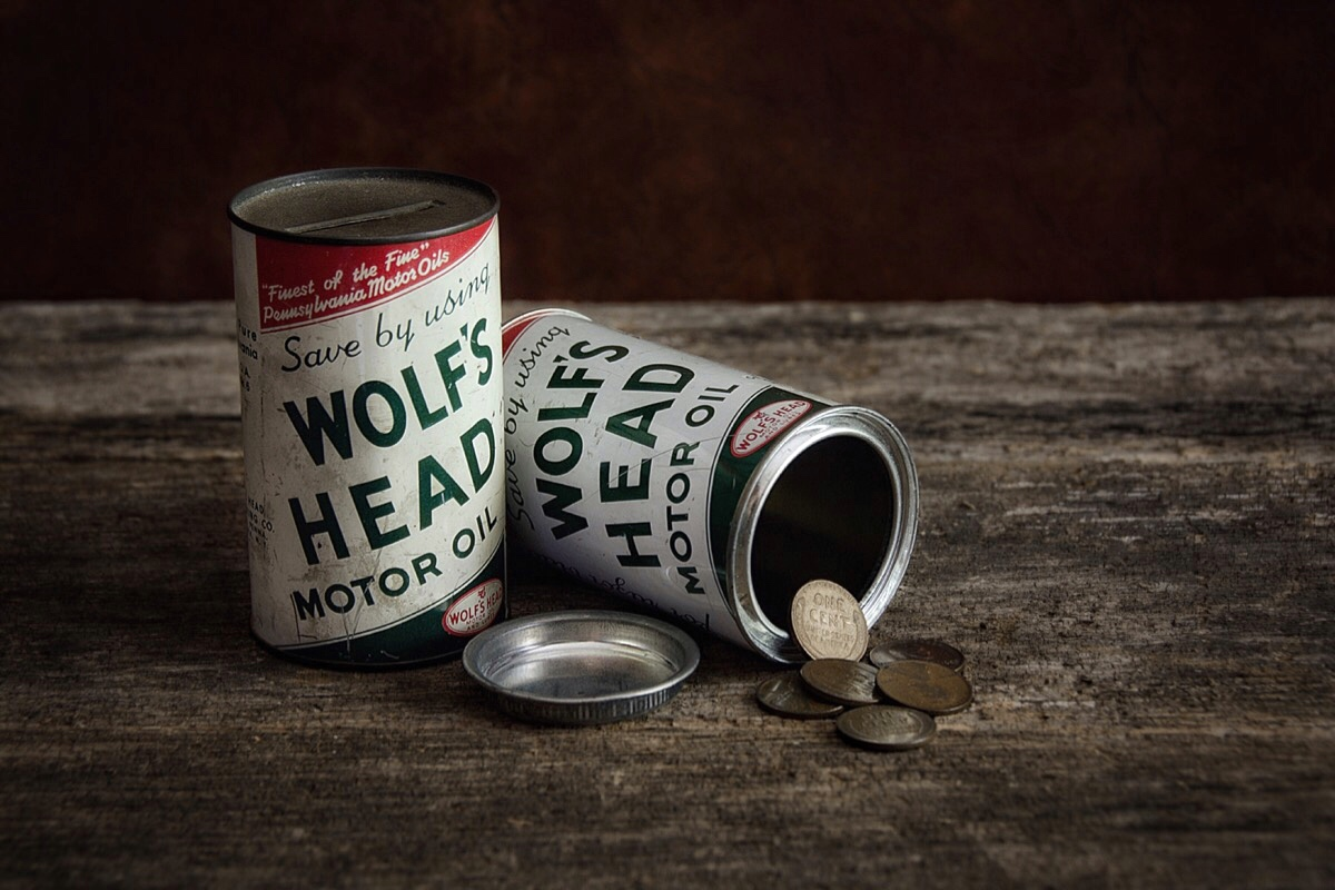 """Save your pennies with Wolf's Head Motor Oil"""