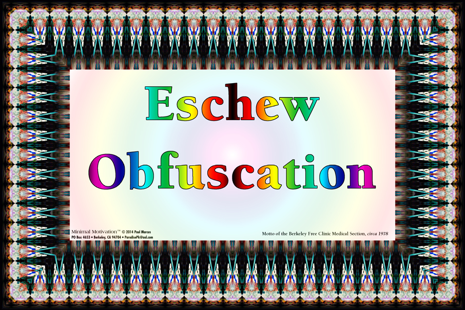 016 Eschew Obfuscation