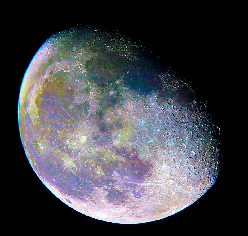 Waning Gibbous Moon Mosaic - Color Enhanced